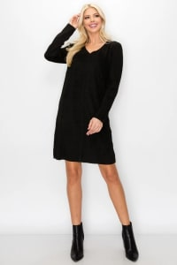 Aurora V Neck with Pockets - Black - Back