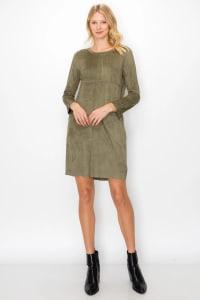 Aurora Long Sleeve Round Neck Dress - Olive - Back