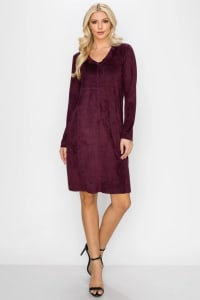 Aurora V Neck with Pockets - Mulberry - Back