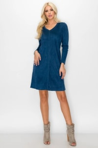 Aurora V Neck with Pockets - Ultramarine - Back