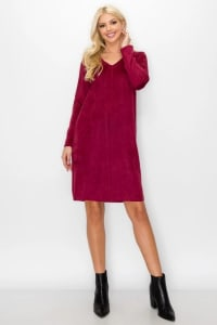 Aurora V Neck with Pockets - Wine - Back