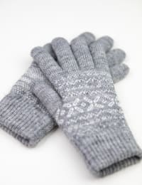 Snowflake Knit Touch Gloves - Grey Combo - Back