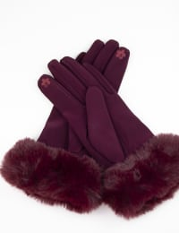 Scuba Knit Faux Fur Cuff Gloves With Touch Function - Burgundy - Back