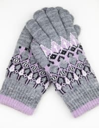 Fair Isle Knit Touch Gloves - Grey Combo - Back