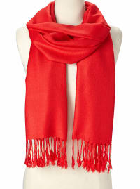 Bright Red Pashmina Scarf - Back