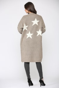 Sancia Star Cardigan - Khaki - Back
