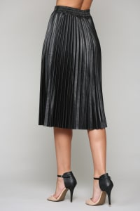 Lisa Pleated Leather Skirt - Back
