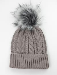Cable Knit Beanie Hat - Fawn/Blush - Back