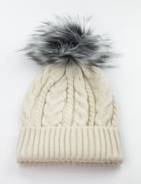 Cable Knit Beanie Hat - Ivory/Grey - Back