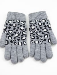 Leopard Jacquard Knit Touch Gloves - Grey Combo - Back