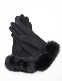 Scuba Knit Faux Fur Cuff Gloves With Touch Function - Black - Back