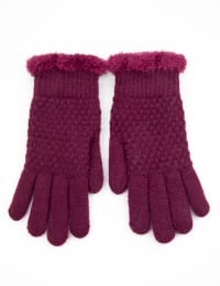 Textured Knit Touch Gloves - Back