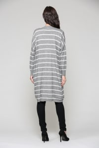 Shayla Cardigan - Gray / White stripes - Back