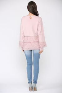 Sally Ostrich Feather Sweater - Back
