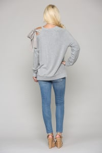 Faith Knit Top - Heather Gray - Back