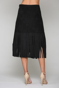 Amalia Fringe Skirt - Black - Back