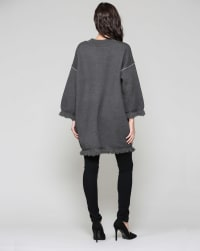 Susie Long Sleeve Tunic Top Dress - Charcoal - Back