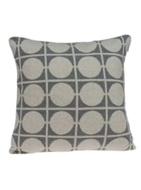 Geometric Design Tan and Grey Printed Pillow Cover - Back