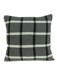 Gray Plaid Cotton Pillow Cover - Back