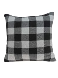 Square Charcoal Buffalo Check Accent Pillow Cover - Back