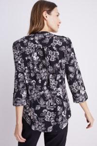Roz & Ali Black and White Floral Pintuck Popover - Black/Ivory - Back