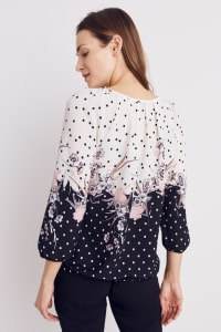 Roz & Ali Border Dot Crepe Bubble Hem Blouse - Blush/Ivory/Black - Back