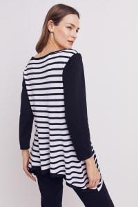 Roz & Ali Contrast Stripe Sweater - Black/Cream - Back