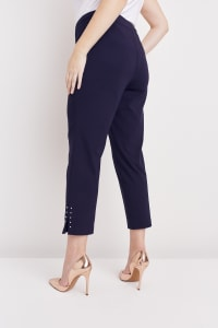 Roz & Ali Solid Superstretch Tummy Panel Pull On Ankle Pants With Rivet Trim Bottom - Plus - Navy - Back