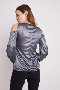 Roz & Ali Sparkle Knot Center Knit Top - Gunmetal/Black - Back