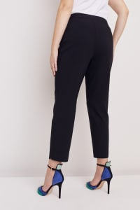 Plus Roz & Ali Super Stretch Tummy Control Pant with Cat Eye Pockets and Ankle Slit - Plus - Black - Back