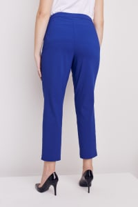 Plus Roz & Ali Super Stretch Tummy Control Pant with Cat Eye Pockets and Ankle Slit - Plus - Marine Blue - Back