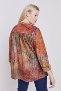 Roz & Ali Tie dye Clip Jacquard Popover - Plus - Rust - Back