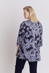 Roz & Ali Paisley Keyhole Fit and Flare Knit Top - Plus - Black/Grey - Back