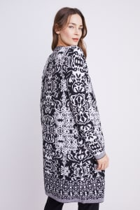 Roz & Ali Scroll Coatigan Sweater - Black/White - Back