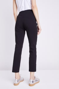 Roz & Ali Tummy Control Superstretch Ankle Pant With Grommet Rivet Tape Trim - Black - Back