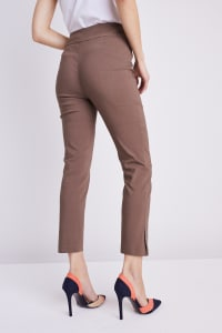Roz & Ali Tummy Control Superstretch Ankle Pant With Grommet Rivet Tape Trim - Mocha - Back
