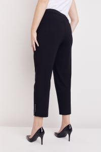 Plus Roz & Ali Tummy Control Superstretch Ankle Pant With Grommet Rivet Tape Trim - Plus - Black - Back
