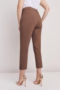 Plus Roz & Ali Tummy Control Superstretch Ankle Pant With Grommet Rivet Tape Trim - Plus - Mocha - Back