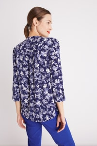 Roz & Ali Blue Floral Pintuck Popover - Navy/Ivory - Back