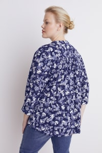 Roz & Ali Blue Floral Pintuck Popover - Plus - Navy/Ivory - Back
