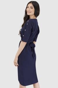 Navy Button Sleeve Split Front Dress - Back