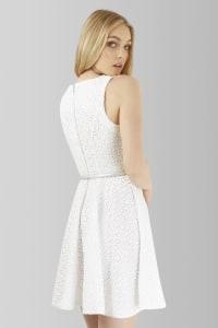 Closet GOLD Skater Lace Silver Belted Dress - Back