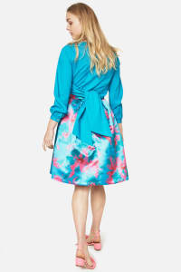 Turquoise Floral Pleated Skirt - Back