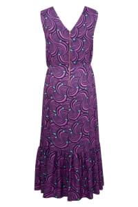 Purple Pleat Detail Frill Hem Dress - Purple - Back