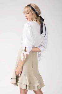 Nude Frill Hem Empire Waist Knee Skirt - Back