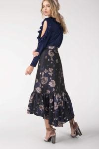 Navy Floral Frill High Low Empire Waist Skirt - Back