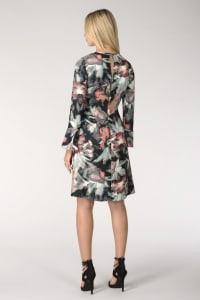 Multi Split Neck Fluted Sleeves Tunic Dress - Back