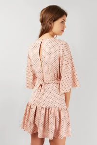 Pink Dotted Flared 3/4 Sleeve Frill Hem Short Dress - Back