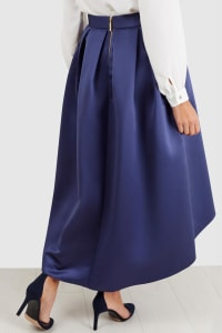Navy Satin High-Low Skirt - Back