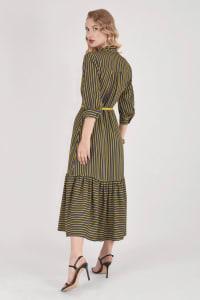 Mustard Stripy Midi Dress With Neck Tie - Back